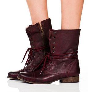 Steve Madden troopa combat boots burgundy 8.5